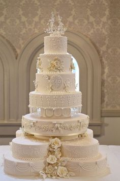 Royal Wedding Recreations In Sydney The replica wedding cake displayed at the Queen Victoria Building on May 2011 in Sydney, Australia. Woman's Day Australia assembled a team that worked throughout the weekend to recreate aspects from the Royal Wedding Ivory Wedding Cake, Pretty Wedding Cakes, Elegant Wedding Cakes, Beautiful Wedding Cakes, Gorgeous Cakes, Wedding Cake Designs, Dream Wedding, Royal Wedding Cakes, Trendy Wedding