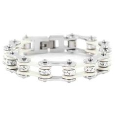 buy Silver & White Chain Bracelet with Crystals online