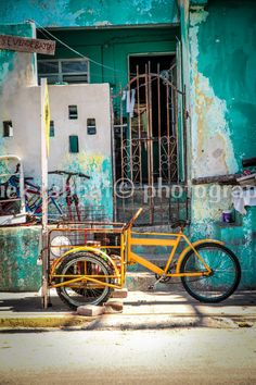 LAST COPY Yellow Bike Photo Fine Art Travel Photography Retro Vintage Yellow Green Teal Old Bikes Mexico Cancun Photo Rustic Hipster