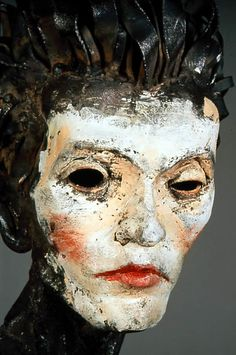 "AL FARROW: 'Egon Schiele' Steel Head Sculpture, 1990 |Forged & welded steel; 73""h x 23""w x 18""d"