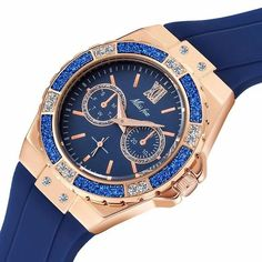 Sport Watches Chronograph of Diamond Rubber Band for Women
