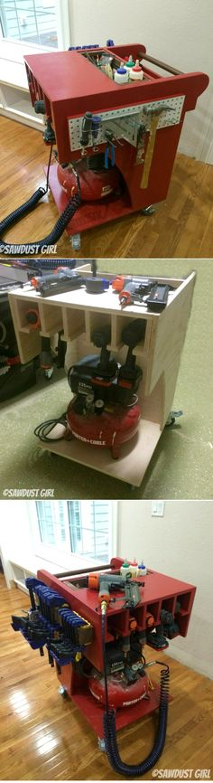 Rolling Air Compressor and Tool Organizing Work Cart http://sawdustgirl.com/2014/07/28/rolling-air-compressor-and-tool-organizing-work-cart/