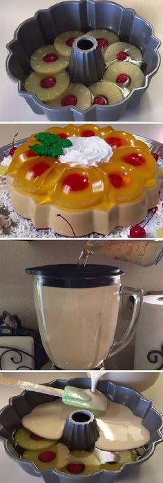Ideas for recipe cake postres Jello Dessert Recipes, Gelatin Recipes, Cake Recipes, Cold Desserts, Just Desserts, Delicious Desserts, Yummy Food, Flan Cake, Jello Cake