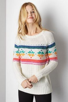 American Eagle Outfitters Cream American Eagle Snowflake Sweater, Womens XXL