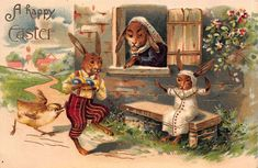Easter Postcard Chick Chasing Dressed Bunny Rabbit Child Stealing Eggs~114732 #Easter