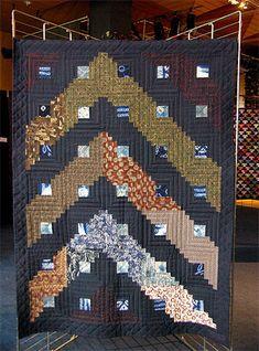 """Ten Mado"" - Windows on sky - Log Cabin recycling the fabric of a Japanese kimono"