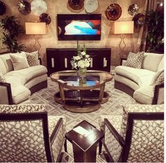 The Hudson sofas and Lake Shore Drive console at #HPMKT showroom of #MargeCarson