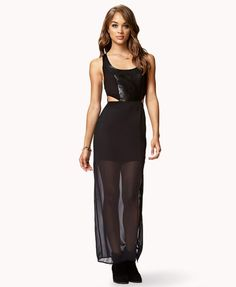 6. Forever 21 Faux Leather Cutout Maxi Dress -  this particular style looks even more smashing on girls with shorter legs as opposed to taller girls. The see through fabric shows off the legs that you do have while disguising any curves you may not want to show