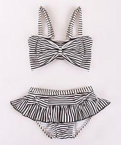 Look what I found on #zulily! Black Stripe Bow Bikini Top & Bottoms - Toddler & Girls #zulilyfinds