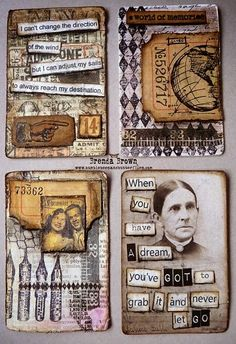 4 more altered playing cards by Brenda Brown - altered art - inches and journal page inspiration - atcs - atc artists Atc Cards, Card Tags, Art Journal Pages, Art Journals, Journal Cards, Junk Journal, Timmy Time, Paper Art, Paper Crafts