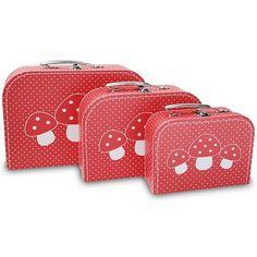 kofferset rood paddestoelen | cara caro