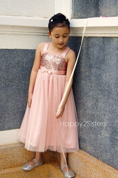 $45 Rose gold sequin and blush flower girl dress by Happy2sisters