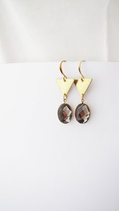 Geometric triangle gray-brown dangle earrings. Everyday by Nuann