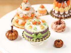 Halloween Cake  Pumpkins Candy Corn Frog by ParisMiniatures