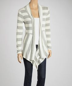 Fashion a posh look and standout with this cardigan. Its open front, gathering at the back and striped design add a dash of chic to the classic layer.