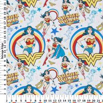 Character Licensed Flannel - Wonder Woman on White Cotton Flannel Fabric $6.99/yd at hancockfabrics.com