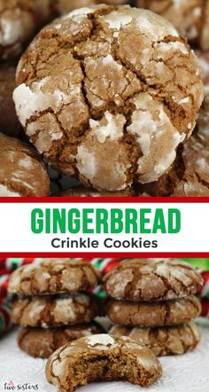 Gingerbread Crinkle Cookies Gingerbread Crinkle Cookies are light, fluffy and spicy on the inside and sweet and crunchy on the outside. A yummy homemade Gingerbread cookie recipe. - Gingerbread Crinkle Cookies - Two Sisters Classic Christmas Cookie Recipe, Easy Holiday Cookies, Holiday Cookie Recipes, Christmas Baking Ideas Cookies, Easy Gingerbread Cookies, Christmas Cookie Exchange, Easy Cookie Recipes, Christmas Ginger Cookies, Easy Christmas Baking Recipes