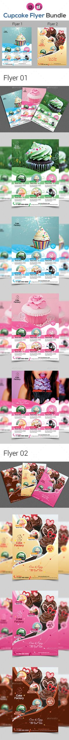 "Cup Cake Shop Flyer Bundle by aam360 FEATURES:Flyer01 Size 8.27""x11.69""Bleed: .25""Three color variations (Cyan, Green, Magenta) Files Included : Adobe IndesignCS4& CC("