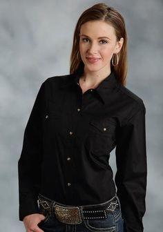 Roper Basic Solid Ladies Black 100% Cotton L/S 2 Pocket Western Shirt – The Western Company