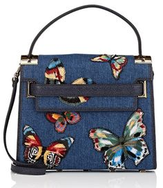 2a0455b7c4 Valentino My Rockstud Small Blue Embroidered Butterfly Convertible Calfskin  Leather Shoulder Bag - Tradesy Denim Shoulder