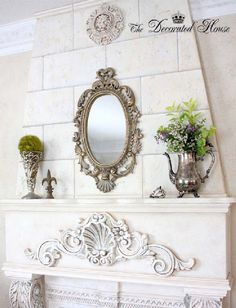 The Decorated House: ~ Summer Mantel in White & Silver ~ The Decorated House