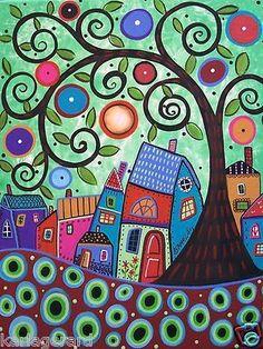 Acrylic On Canvas Painting - Small Village 1 by Karla Gerard Doodle Art, Karla Gerard, Arte Popular, Naive Art, Whimsical Art, Tree Art, Zentangle, Art Lessons, Folk Art