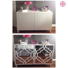 "IKEA Besta before then after some mirror and an O'verlays Khloe Kit for the IKEA Besta Door as done by ""SheDevil"" Judy Landin. Love it!"