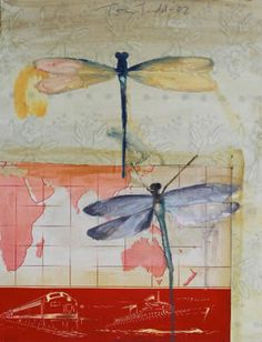 Tom Judd.  Dragonfly and World       oil on collage     16 x 12     2002