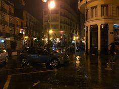 Rainy cold windy night in Valencia