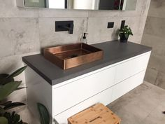 Our highly skilled team specialise in creating polished concrete benchtops, vanities, basins, bathtubs, outdoor BBQ benchtops and industrial furniture for residential and commercial properties. Concrete Design, Polished Concrete, Living Room Kitchen, Industrial Furniture, Sink, Vanity, Projects, Bathrooms, Home Decor