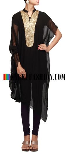 Buy Online from the link below. We ship worldwide (Free Shipping over US$100) http://www.kalkifashion.com/black-kurti-with-neckline-embroidered-in-sequence.html Black kurti with neckline embroidered in sequence