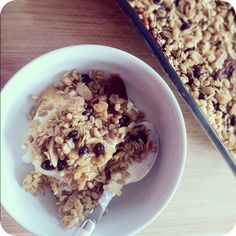 Homemade granola.  Clean, gluten free, dairy free snank. I cant wait to make this.
