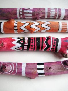painted sticks   ... right now I'm experimenting with wood. These are my painted sticks