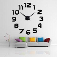 2016  new clock watch wall clocks horloge 3d diy acrylic mirror Stickers Home Decoration Living Room Quartz Needle free shipping