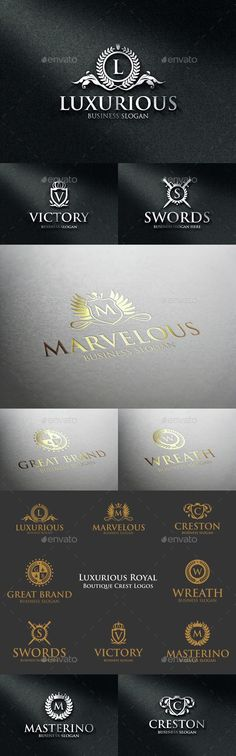 Luxurious Royal Boutique Badge Crest Logos – Boutique Crests – Elegant Fashion Logos. Luxurious Logo Templates / Royalty Emblems. An excellent logo templates highly suitable for Real Estate, Boutique, Leisure business, Law firm, Judical agencies, Luxury restaurant, Markets, Shops, Sports club, Trading center, School, College or University Coat of Arms, Fashion and clothing businesses. Stylish Multi Purpose Logo Templates. Perfect for Hotels, Finance, Investment, Jewelery...