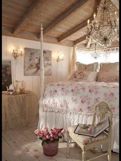 Shabby Chic-- would love this to be my bedroom.  I don't think I would ever leave.