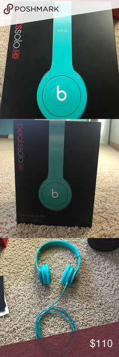 Beats Solo HD by Dr. Dre Beats solo headphones. Greenish-teal color. Used a handful of times but in perfect condition. Comes with with case and box. Other