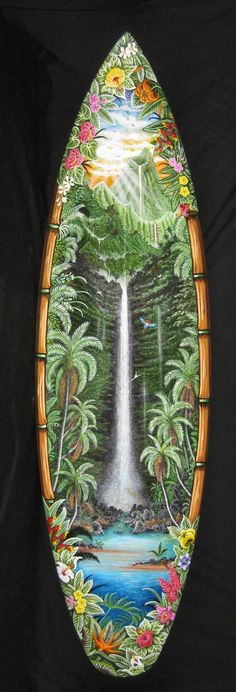 Kauai Art Tour ~ Artists Open Studios 2015 artist: ZOE' - Weekend 2: Wailua #surfboard #surf #surfartist #waterfall #Kauai #Hawaii http://KauaiArtTour.com