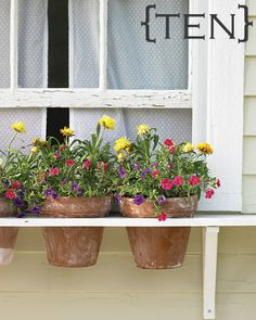 Love this idea, so much easier than a traditional window box.Window Box Alternative - Martha Stewart Home & Garden Garden Crafts, Garden Projects, Easy Projects, Outdoor Projects, Summer Garden, Home And Garden, Herb Garden, Garden Tips, Garden Club