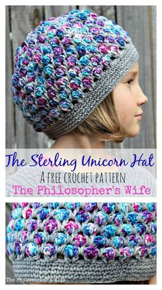 The Sterling Unicorn Hat Free Crochet Pattern   We love the mix of a solid neutral and a magical variegated