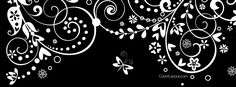 Black and White Swirls and Butterfly Facebook Cover CoverLayout.com