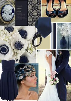Antique blue wedding mood board on Papaver Designs blog poppylee.blogspot.com