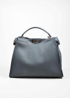 9de8eb40d0cd ... spain grey fendi pebbled leather selleria peekaboo large tote bag 89705  24102 ...