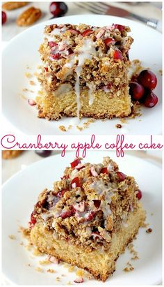 Cranberry Apple Coffee Cake - PERFECT for special mornings! Loaded with apples, cranberries, and buttery crumbs! Make it for Thanksgiving breakfast!
