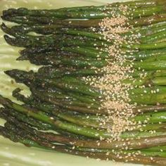 Grilled Soy-Sesame Asparagus (Allrecipes). Broiled instead of grilled. Good.