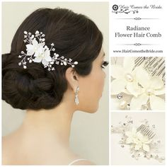 Crystal & Freshwater Pearl Bridal Flower Hair Comb by Hair Comes the Bride ~ Bridal Hair Accessories & Jewelry Romantic Bridal Hair, Bridal Hair Flowers, Bridal Hair Pins, Hair Comb Wedding, Pearl Bridal, Bride Hairstyles, Vintage Hairstyles, Trends, Flower Hair Clips