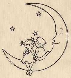 Crescent Moon with Children Holding Hands Embroidered Flour Sack Hand/Dish Towel