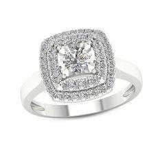 b59f2e75bbc78a 3/4 CT. T.w. Oval Diamond Double Frame Twist Vintage-Style Bridal ...