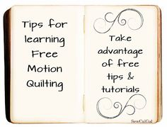 ! Insights From SewCalGal: Tips for Learning Free Motion Quilting:  Free Tips...