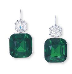 A PAIR OF EMERALD AND DIAMOND EAR PENDANTS. Each set with a cushion-shaped emerald weighing and carats, surmounted by a cushion-shaped diamond weighing and carats, mounted in platinum, cm long. Emerald Earrings, Emerald Jewelry, Diamond Jewelry, Stud Earrings, Or Antique, Antique Jewelry, Vintage Jewelry, Diamond Earing, Emerald Diamond